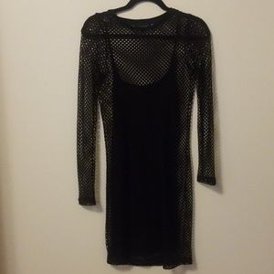 TOPSHOP black fishnet long sleeve midi dress sz 6